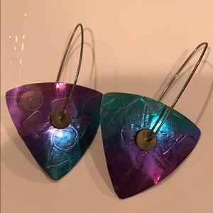 Geometric colored metal earrings